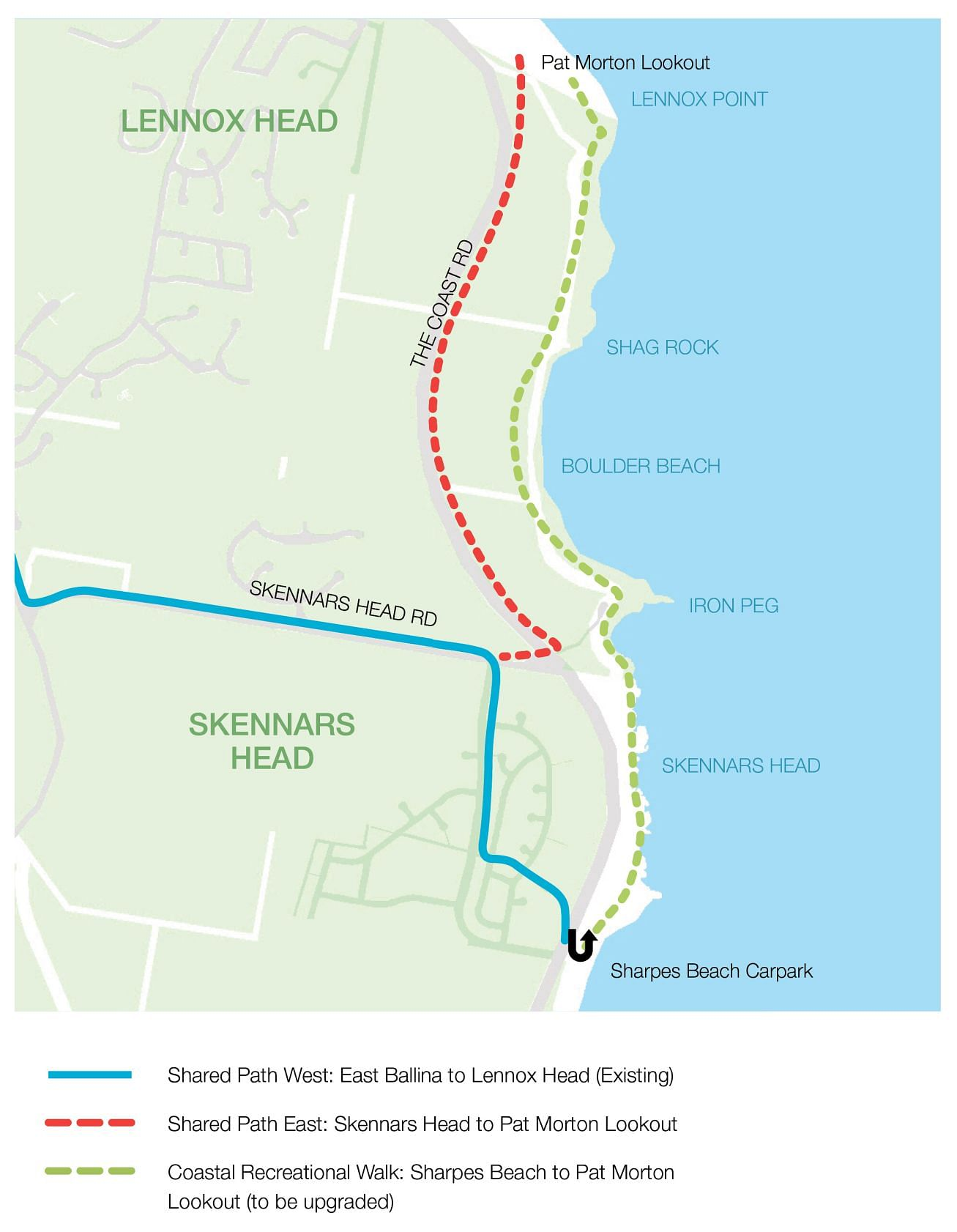 map of the shared pathway from Ballina to Lennox Head