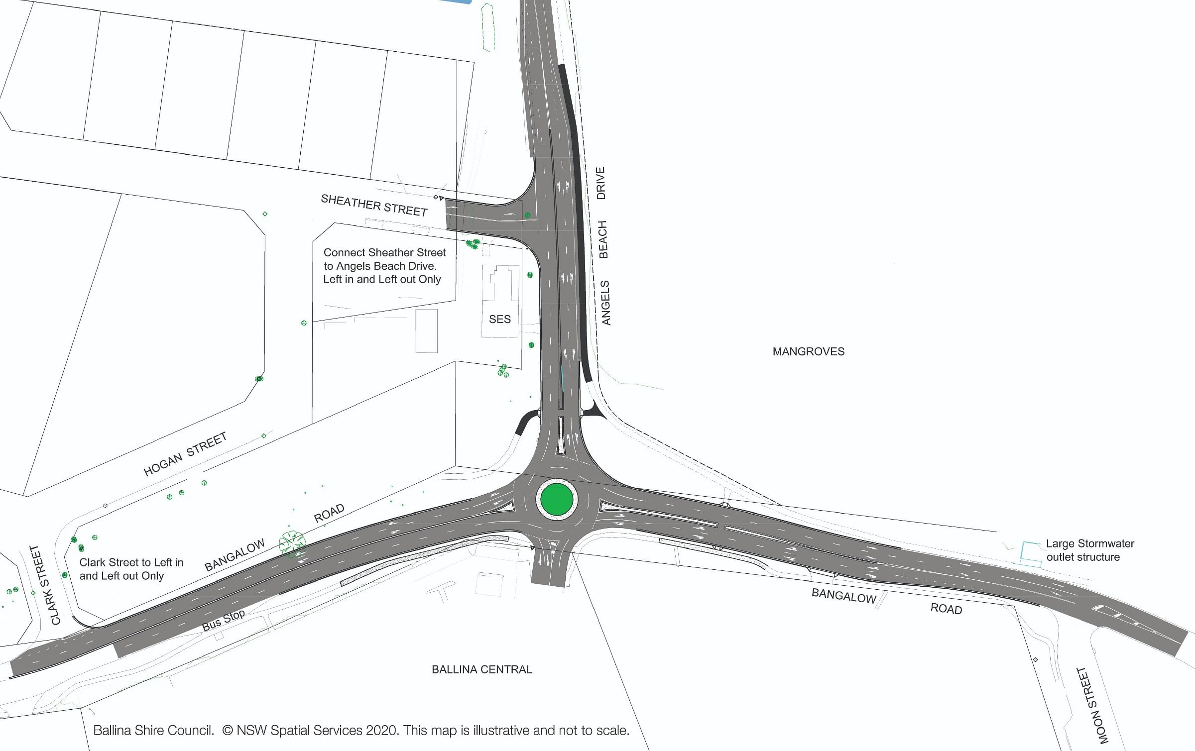 Bangalow road angels beach drive proposed works plan
