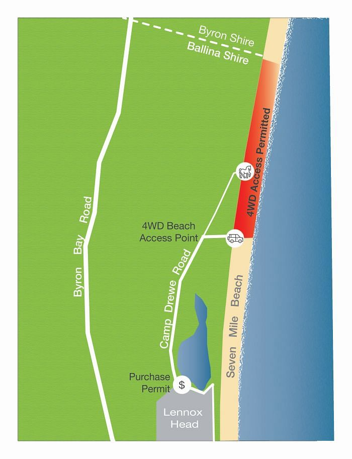 Map of 4WD access Seven Mile Beach