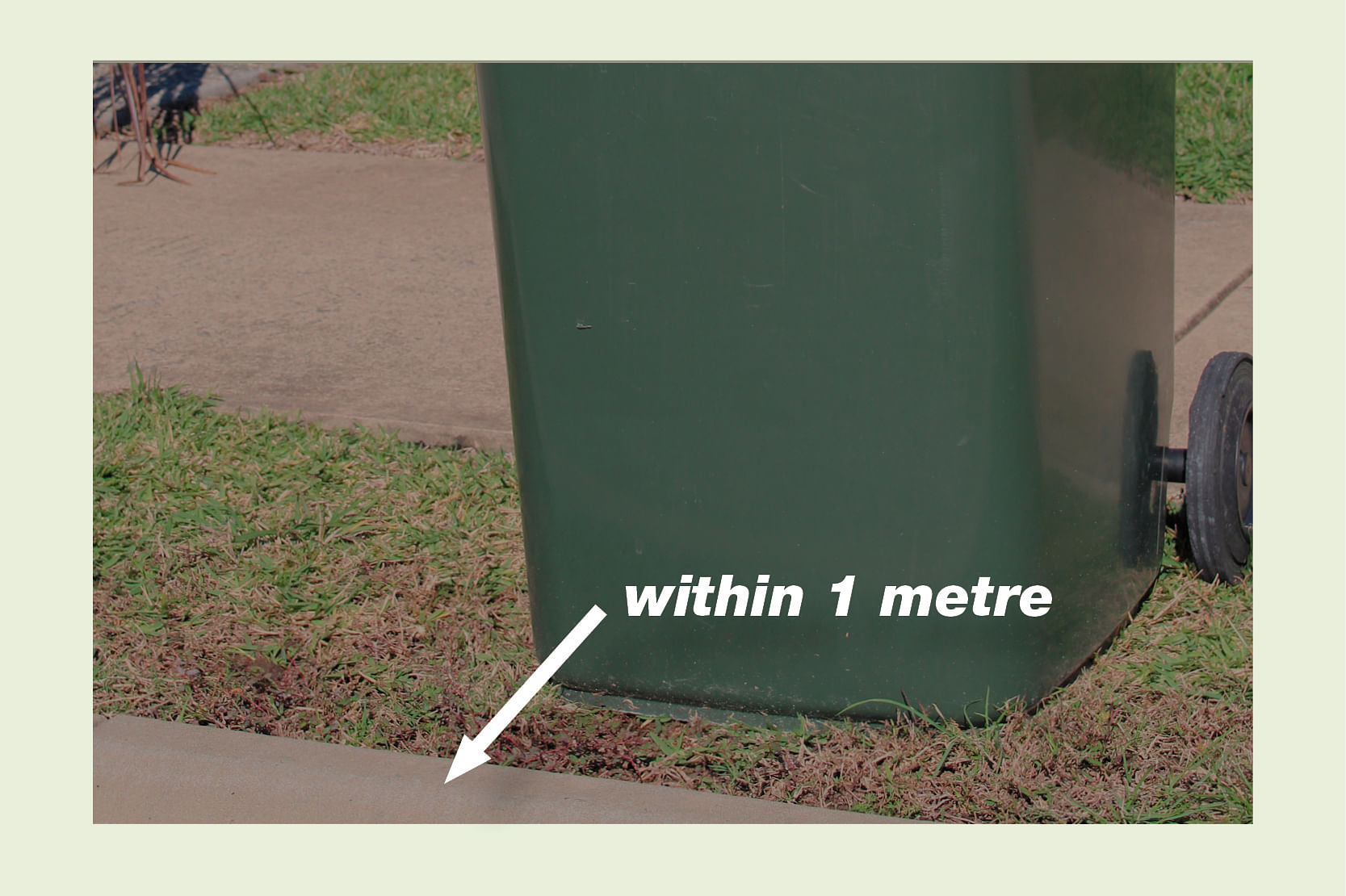 Bin on kerb within one metre