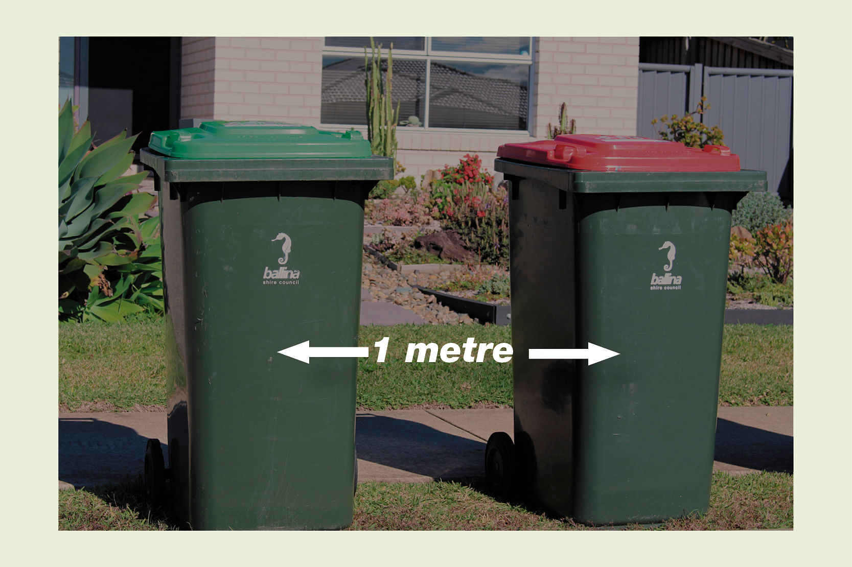 Bins on kerb with one metre a part